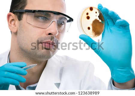 Scientist observing petri dish at the laboratory - stock photo