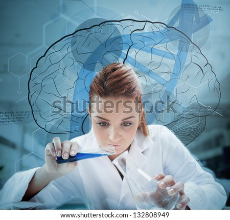 Scientist pouring liquid into erlenmeyer with futuristic screen showing scientific diagrams behind her - stock photo