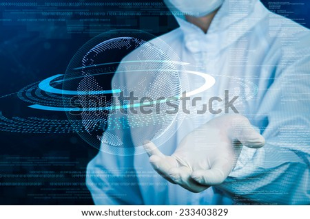 scientist showing glow futuristic sphere - stock photo