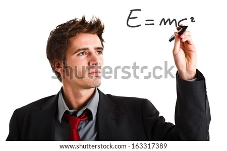 Scientist showing the relativity theory - stock photo