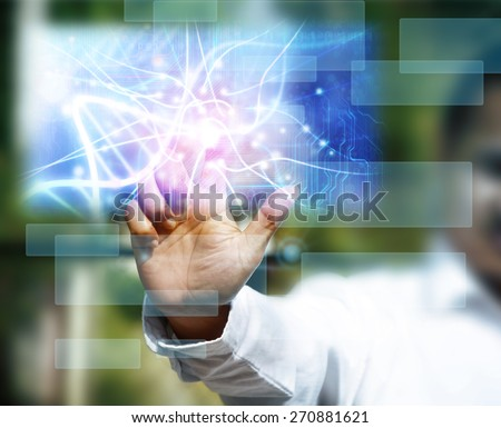 scientist touching DNA molecule image at media screen - stock photo