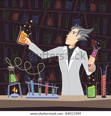 Scientist with Chemistry Equipment - stock photo
