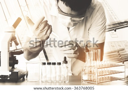 scientist with equipment and science experiments,Ancient image process syle - stock photo