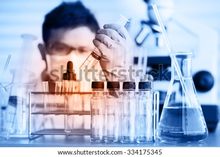scientist with equipment and science experiments ;Double exposure style - stock photo