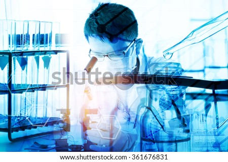 scientist with equipment and science experiments ; science background - stock photo