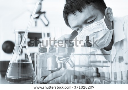 scientist working at the laboratory Double exposure style,Laboratory research concept.mono tone - stock photo