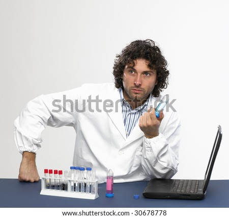 Scientist working in a laboratory isolated on white