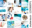 Scientists and laboratory work, collage - stock photo