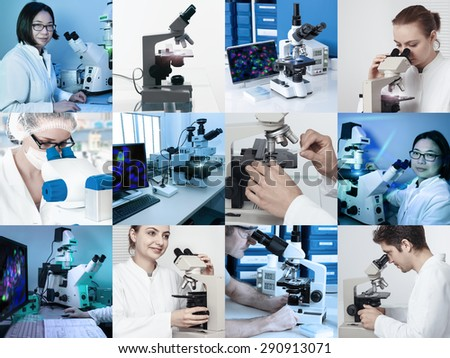 Scientists and technicians work with various microscopes in research facilities - stock photo