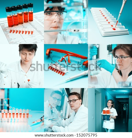 Scientists working with various samples, collage - stock photo