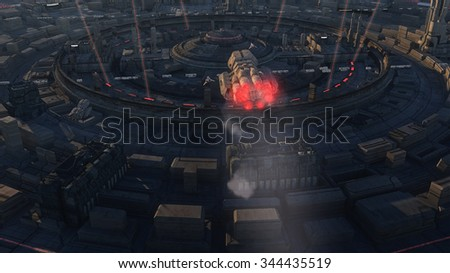 SCIFI city and ships - stock photo