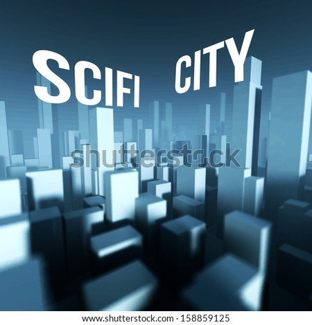 Scifi city in 3d model of miniature downtown, Architectural creative concept - stock photo