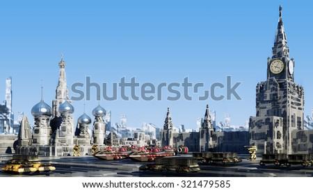 Scifi fantasy concept cityscape Moscow the future - stock photo