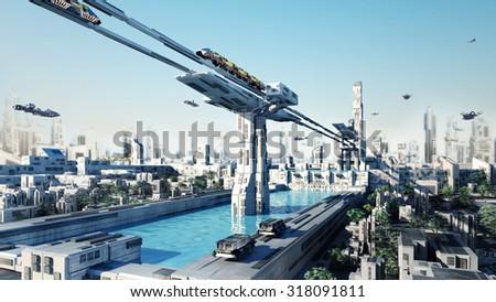 Scifi fantasy concept cityscape the Dam City - stock photo