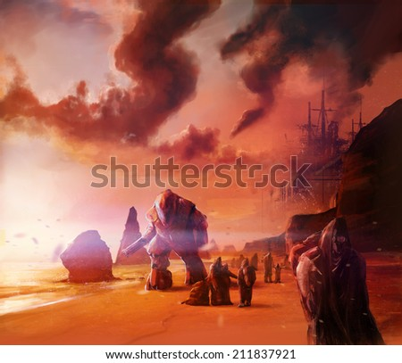 Scifi warriors. Scifi warriors walking on a ocean evening shore with robots and people illustration background. - stock photo
