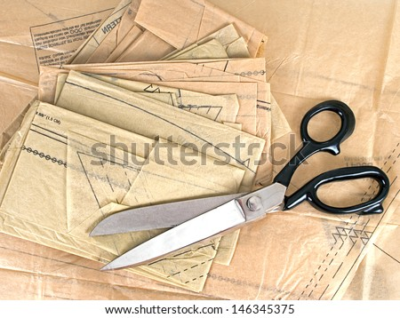 Scissor and tissue paper pattern,no visible logos etc. - stock photo