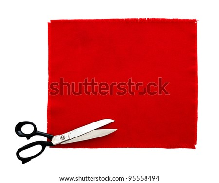 Scissors and fabric swatch, isolated