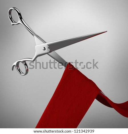 Scissors and red ribbon - stock photo