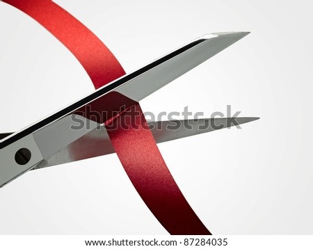 Scissors and ribbon (CLIPPING PATH ) - stock photo