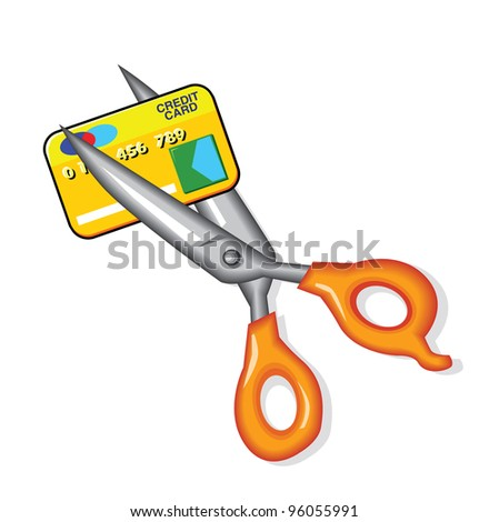 Scissors Credit Card - stock photo