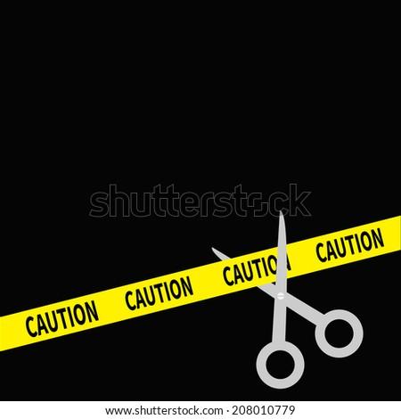 Scissors cut caution ribbon on the right. Flat design style.  - stock photo