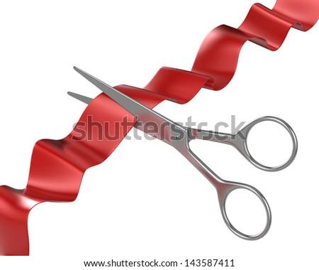 Scissors cut ribbon - stock photo