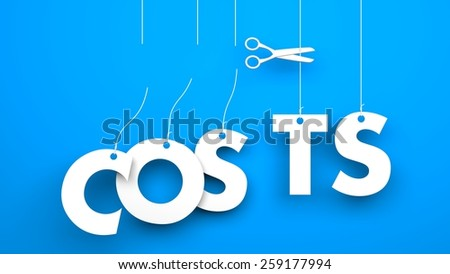 Scissors cuts word COSTS