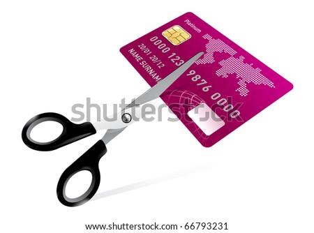 scissors cutting credit card illustration on white - stock photo