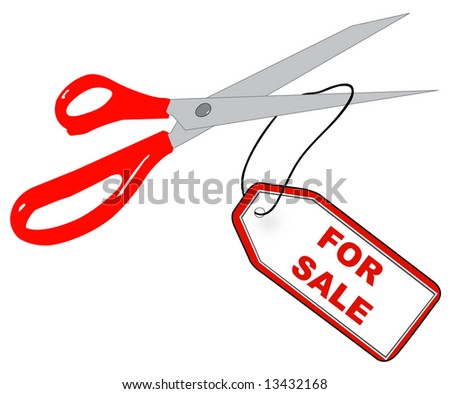 scissors cutting off for sale tag