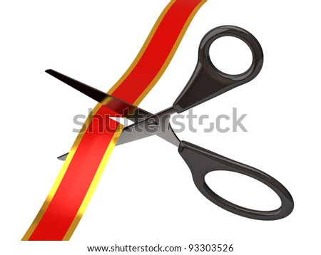 Scissors cutting red ribbon - stock photo