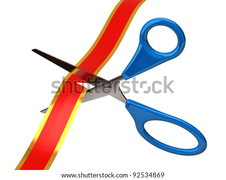 Scissors cutting red ribbon isolated on white background - stock photo