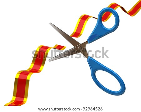 Scissors cutting red ribbon on white background - stock photo