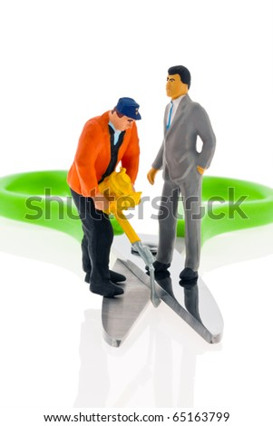 Scissors in income between workers and managers. - stock photo