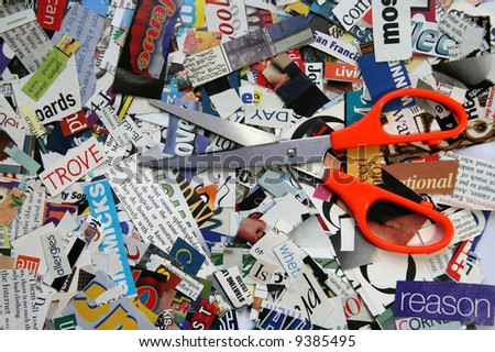 Scissors on Magazine Clipping Background - stock photo