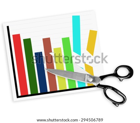Scissors slashing budget on white background. Real scissors, drawn graph. - stock photo