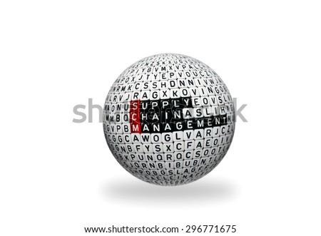 SCM Supply Chain Management written on 3d sphere on white background - stock photo