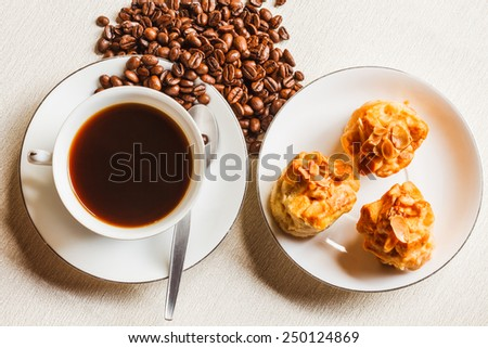 Scone bread and a cup of coffee on white plate - stock photo