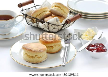 scone , cream tea , tea party , buttermilk biscuits - stock photo