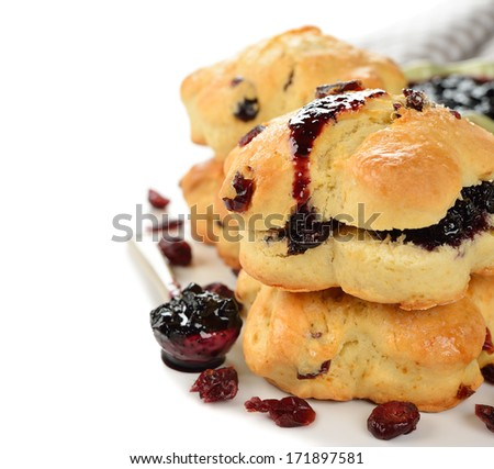 Scones on a white background closeup