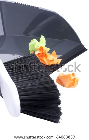 Scoop and brush for dust cleaning on a white background. - stock photo