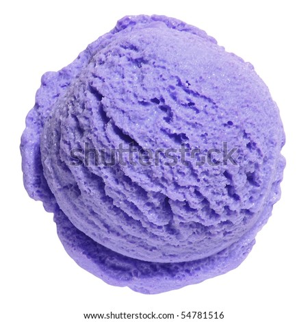 Scoop of blueberry ice cream from top on white background with clipping path - stock photo
