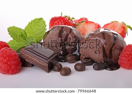 scoop of chocolate ice cream and fruit