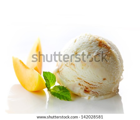 scoop of ice cream and apricot on white background