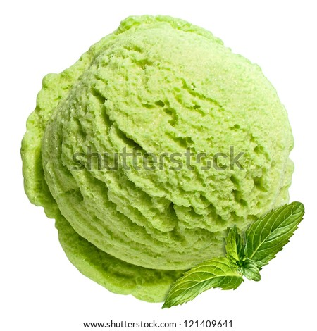 Scoop of mint ice cream from top with clipping path - stock photo