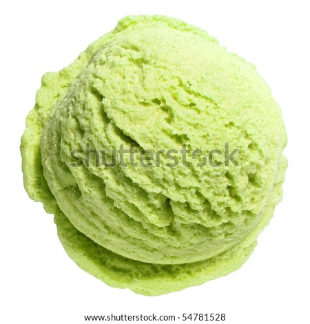 Scoop of pistachio ice cream from top on white background with clipping path - stock photo