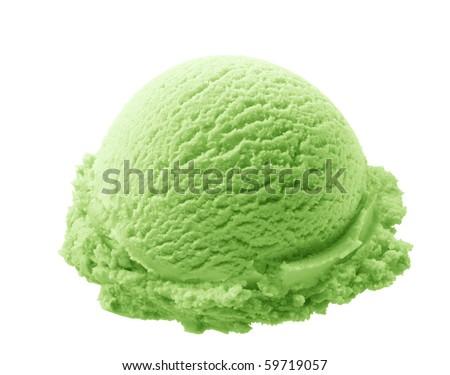 scoop of pistachio ice cream isolated on white background - stock photo