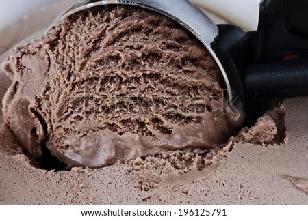 Scoop of rich chocolate ice cream with extreme shallow depth of field. - stock photo