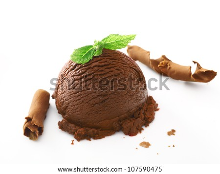 Scoop of rich creamy chocolate ice cream dessert topped with fresh mint and served with shavings - stock photo