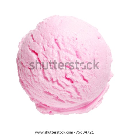 Scoop of strawberry ice cream on white background with clipping path - stock photo