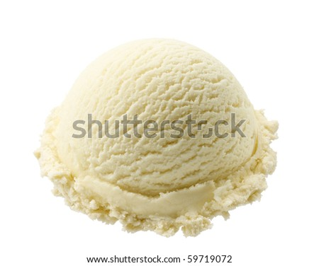 scoop of vanilla ice cream isolated on white background